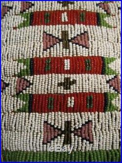 Vintage Pair Of Native American Sioux Indian Woman's Beaded Leggings