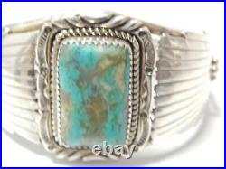 Vintage Pawn Navajo Indian Sterling Silver Turquoise Bracelet Wide + Xtra Nice
