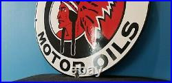 Vintage Red Indian Gasoline Porcelain Gas Motor Oil Native American Service Sign
