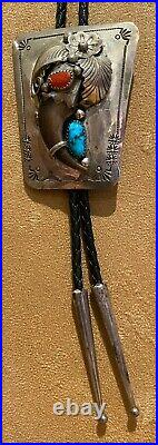 Vintage Sterling Silver Indian Native American Bolo Bear Claw, Turquoise, Coral