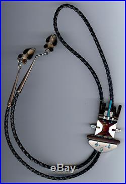 Vintage Zuni Indian Mudman Kachina Silver Inlaid Turquoise & Onyx Bolo Tie
