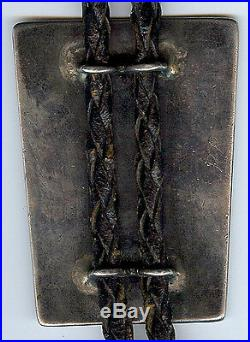 Vintage Zuni Indian Silver Inlaid Turquoise Coral Onyx Knifewing Bolo Tie