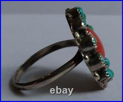 Vintage Zuni Indian Silver Turquoise Coral Flower Ring