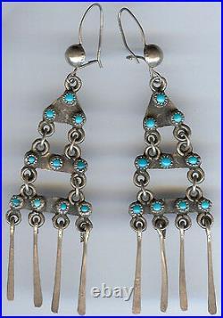 Vintage Zuni Indian Silver & Turquoise Long Dangle Pierced Earrings