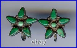 Vintage Zuni Indian Sterling Silver Cerrillos Turquoise Screwback Star Earrings