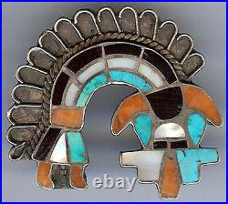 Vintage Zuni Indian Sterling Silver Inlaid Stones Rainbow Man Pin Brooch