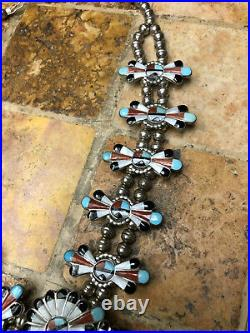 Vintage Zuni Indian Sungod Squash Blossom Necklace Inlay Turqoise Mop Jet Coral