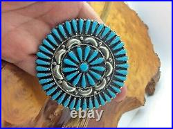 Vintage Zuni Petit Point Pin/Pendant Turquoise Cluster Signed G. &A. B