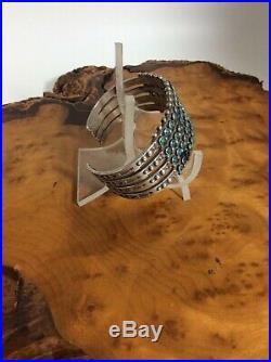Vintage Zuni Petit Point Snake Eye 4 Row Cuff Bracelet Sterling Silver Turquoise