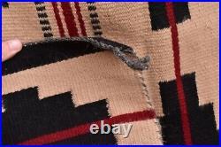 Vintage native american textile weaving Navajo indian rug 27x26 Antique striped