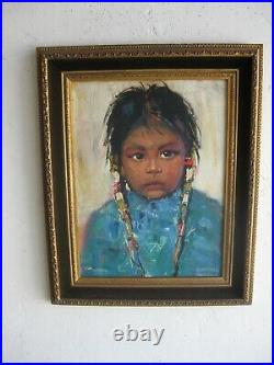 Vtg 1960's EDMOND WOODS NATIVE AMERICAN INDIAN NAVAJO GIRL OIL PAINTING LISTED