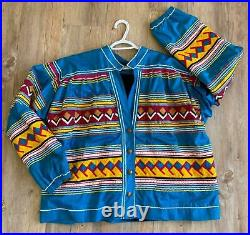 Vtg Florida Seminole Patchwork Jacket with1900s Indian Head Penny Buttons