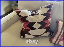 Vtg Native American Navajo Indian Pillow Rug Blanket Wool Hand Woven