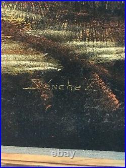 Vtg Oil Painting on Black Velvet Native American Indian Worrier On Horse 40x28