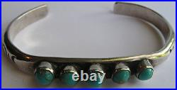 Weighty Vintage Navajo Indian Silver Multi Turquoise Cuff Bracelet