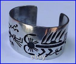 Wide Hoyungowa Vintage Hopi Indian Sterling Silver Overlay Cuff Bracelet