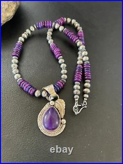 Womens Navajo Indian Purple Sugilite Sterling Silver Necklace Pendant Gift 01610