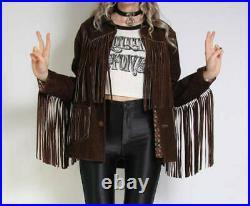 Womens Vintage Brown Suede Leather Jacket Ladies Native Fringe Western Wear Coat