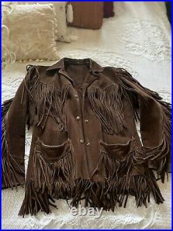 Womens Vintage Brown Suede Leather Jacket Native 9 Fringe Western Handmade-Rare