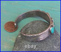 Wonderful Old Vintage Silver Stamped Indian Green Turquoise Row Cuff Bracelet