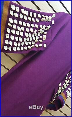 XL Wool 3 Band Broadcloth Replica Elk Teeth Native American Indian Dress & Purse