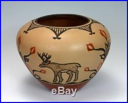 Zia Pueblo Native American Indian Pottery Large Bowl Ruby Panana