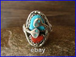 Zuni Indian Sterling Silver Turquoise Coral Snake Ring Size 10 Effie Calavaza