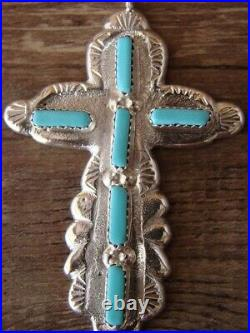 Zuni Indian Sterling Silver Turquoise Cross Pendant by C. Lule! Hand Stamped