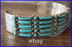 Zuni Indian Sterling Silver Turquoise Row Bracelet by J Wyaco
