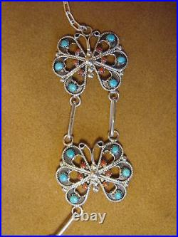 Zuni Indian Turquoise & Coral Handmade Butterfly Necklace Earring Set by A. Tsat